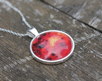 Silver Planet Venus - Galaxy Solar System Glass Dome Necklace Pendant