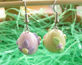 Polymer Clay Easter Egg Earrings - Mismatched Pair - Pastel Flowers