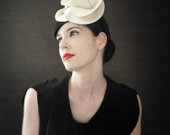 Cream Felt Fascinator Hat - Guggenheim Series - Made to Order
