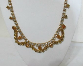 Vintage Necklace Topaz and Clear Rhinestones