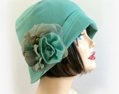 Cloche Hat for Women, 1920's, Spearmint Green Linen, the Eleanor for Spring Summer, Ladies Flapper Hat