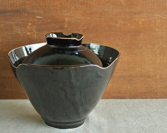 Vintage  Hand Thrown Studio Art Pottery Mid Century Covered Serving Bowl Signed Armour
