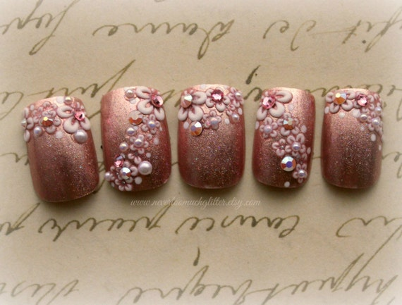 Japanese Nail Art- Pink Floral French Artificial Nails