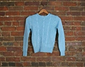 Vintage Cable Knit Baby Blue Sweater Top Shirt (S)