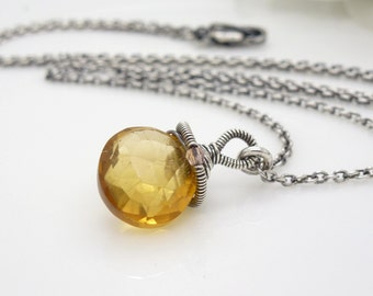 Yellow citrine necklace, sterling silver wire wrapped citrine briolette necklace, golden yellow pendant
