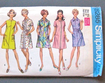 Uncut 1960s Simplicity 8285 Dress in Misses' and Half-Sizes Vintage Sewing Pattern  Bust 41