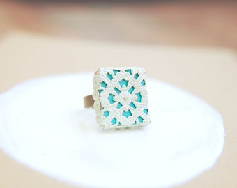 Filigree Lace Ring Two-Toned White and Jewel Tone Adjustable Band  - Crocheted Turquoise