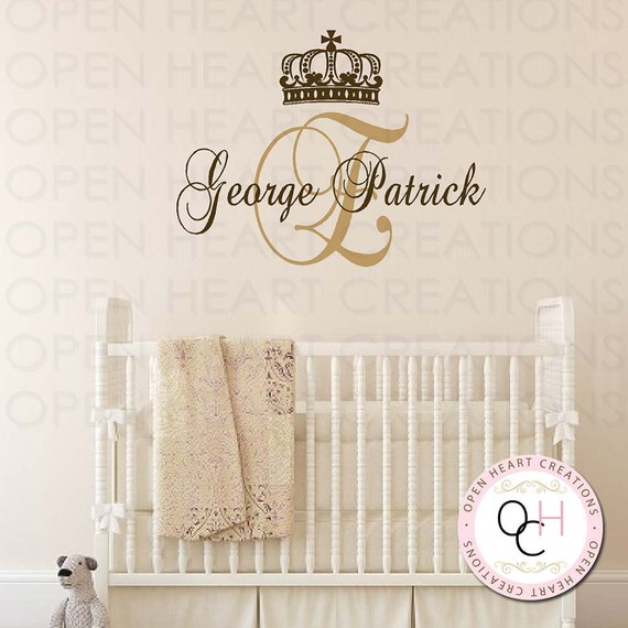 Baby Crown Wall Decor : Prince monogram wall decals initial and by openheartcreations