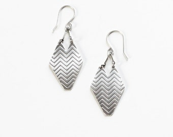 "Geometric sterling silver dangle earrings with embossed chevron pattern oxidized to bring out detail and show contrast - ""Chevron Earrings"""