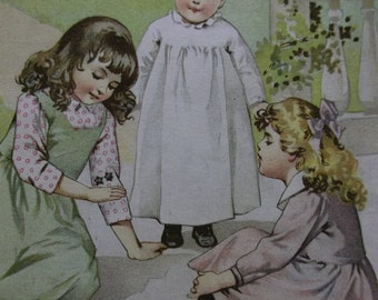 Little Girls Playing Jacks on Porch - Victorian Trade Card - McLaughlin's Coffee - 1800's