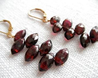 Garnet earrings - gold earrings - red earrings - E A R R I N G S 286
