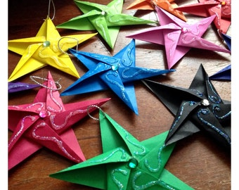 Hand-Folded Origami Paper Star ~ Wedding ~ Favours Favors ~Place Cards ~Decoration ~Gift Tag