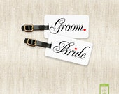 Personalized Luggage Tags Bride and Groom Metal Luggage Tag Set Personalized with Address Message or Quote Printed FULL Metal Tags