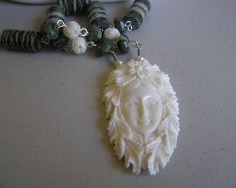 Fairest Maiden            Goddess Bone Carved Necklace   Matching Earrings
