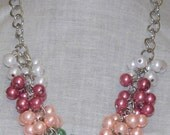 Colorful Cluster Necklace, Summer Jewelry, Glass Pearl Cluster Necklace, Wedding Jewelry, Prom Necklace, Cluster Necklace