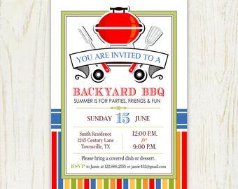 BBQ Invitation barbque - 5x7 or 4x6 Printable Invitation - digital