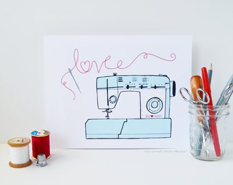 Red and Aqua Sewing Machine, I love sewing, Sew Happy, Illustration, art print
