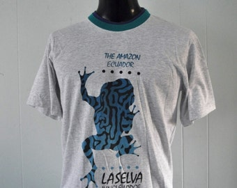 Ringer Tshirt Equador Equator Frog LaSelva Amazon Tee Nature Animal Vintage Teal Blue TShirt Aqua MEDIUM