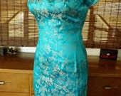 Vintage Aqua Cheongsam style Dress and matching Swing Coat S-M Free Shipping