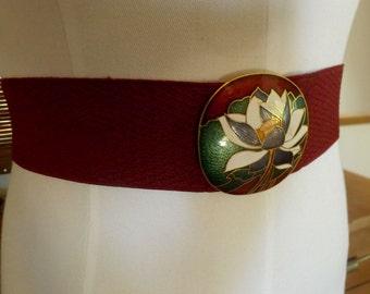 Vintage 70s burgundy Tropical Floral disco boho Cinch Belt M free shipping