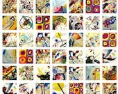 1x1 inches - Wassily Kandinsky Art Works to be used in your scrabble tiles, pendants etc.- For unlimited number of prints