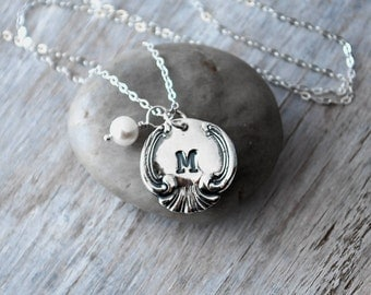 Personalized Vintage Spoon Initial Necklace -  Personalized Womens Initial Charm - Sterling Silver Chain - Moms Necklace