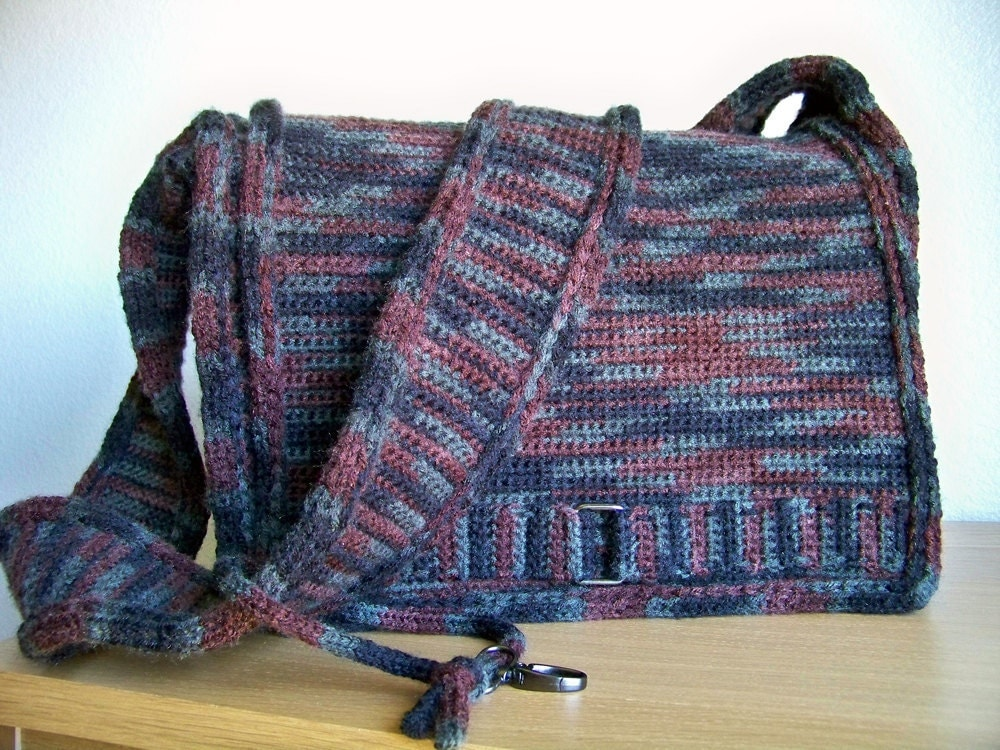 Crochet Simple Bag : Crochet Pattern Crochet Messenger Bag Pattern Knit by Natalya1905