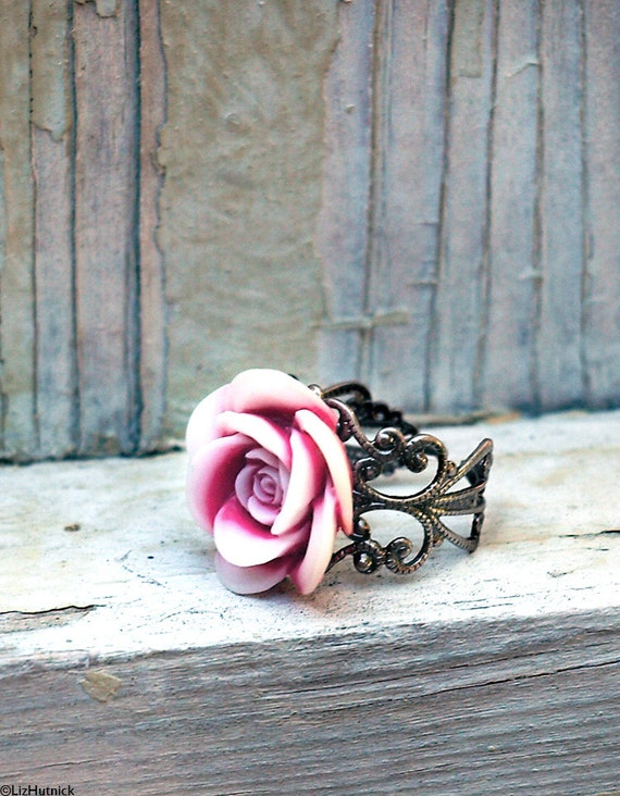 Peppermint Swirl Rose Ring. Adjustable. Flower Statement Ring