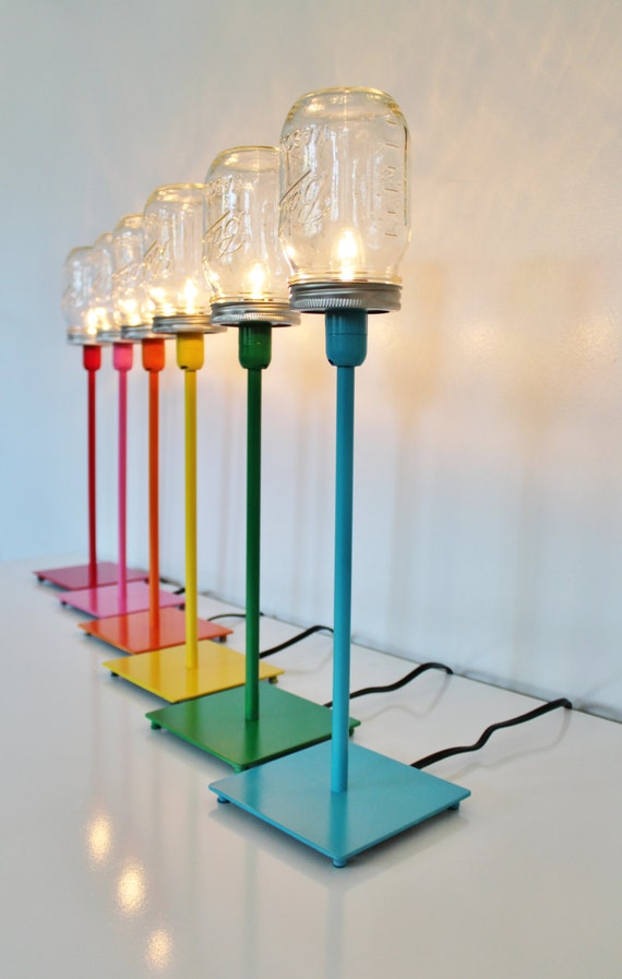 Mason Jar Lamp Metal Table Top Lamp In Your Choice by ...