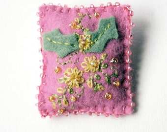 Handmade Felt Brooch or Pin in Mauve with Yellow, Gold and Green Floral Embroidered and Beaded Embellishments - Shawl or Scarf Pin