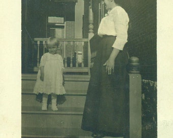 Mother Daughter Standing On City Porch Steps Cute Girl White Dress RPPC Real Photo Postcard  Antique Vintage Black White Photo Photograph