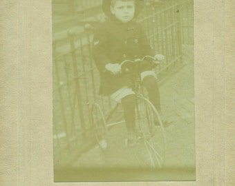 Robert Staug Little Boy On Big Wheel Tricycle Cabinet Card Antique Photo Black White Photograph