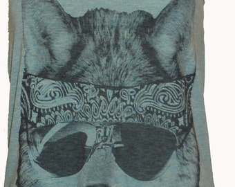 The Party WOLF DOG  Ladies Tank Top American Apparel Tri-Blend  XS S M or L