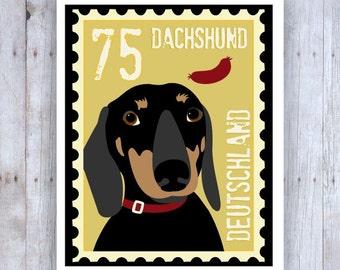 Dachshund Art, Dachshund Print, Dachshund Decor, Doxie, Dachshund Stamp, Dachshund Arwork, Sausage Dog, Weiner Dog Art, Weiner Dog Print