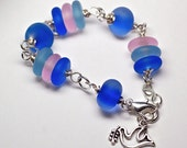 sale bracelet lampwork and silver seaglass style enamel frosted glass water blue pink lavender bead glass style adjustable bracelet Paulbead