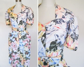 Vintage 80s Floral Grunge Sheath Dress sz Medium