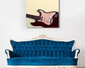 Fine Art Canvas Gallery Wrap Giclee Print Guitar Finished Ready to Hang Home Decor Strat Pink Black Cream Grunge Girl Fender Wholesale