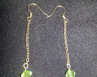 Green Swarovski Crystal Dangle Earrings