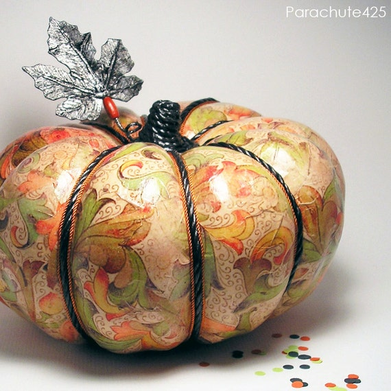 Pretty Print Decoupage Pumpkin, Autumn Print Pumpkin, OOAK Fall decor, Halloween decor, Thanksgiving decor, recycled material, Fall colors