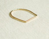One Golden Square Top Thread of Gold Ring - Rose or Yellow - Tiny Hammered Stacking Ring - Delicate Jewelry