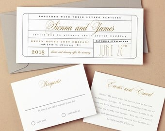 Printable Wedding Invitation Template | INSTANT DOWNLOAD | Ticket | Word or Pages | Easy DIY | Editable Artwork Colors