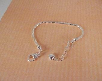 "2 Euro Style Bracelet, Silver Plated, Add-A-Bead Bracelet, 1"" Extension Chain w/Heart"