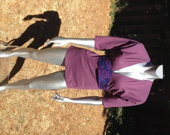 SALE! Tribal Embroidery Empire Deep V Neck from Rajasthan, India – One Size – Purple Cotton base