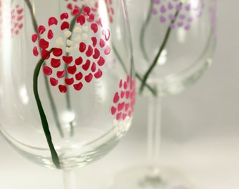Modern flowers, hand painted wine glasses, painted glassware, painted flower glasses, set of 2