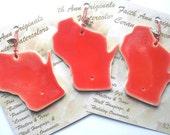 ON WISCONSIN! handmade state shaped ceramic ornament family student party secret Santa host gift exchange idea under 25 Faith Ann Originals
