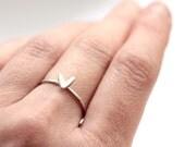 Silver Stacking Ring - Leaf Silver Stacking Ring - Cress Leaf shape ring