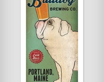 BULLDOG Custom Bulldog Brewing Company graphic art illustration GICLEE PRINT 8x16 inches Signed