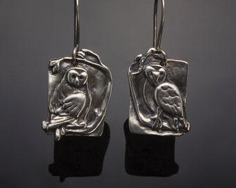 Sterling Silver Owl Earrings // Silver Bird Earrings // Jewelry