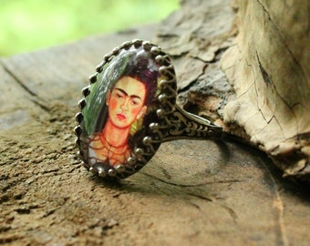 Frida Kahlo Ring, Statement Ring, Oxidized Sterling Silver, Frida Jewelry, Handmade Cameo, 18x25 Cabochon, Day of the Dead, Cinco de Mayo