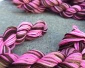Neopolitan Mini Skeins Pink and Chocolate Brown Hand Painted Sock Yarn 28 Yards Superwash Merino Nylon